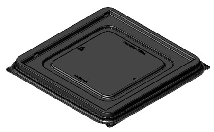 "7.5"" -A Square Black Flat Tray 204-150194"